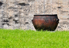 Rusty old iron cauldron Royalty Free Stock Photo