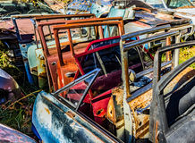Rusty, old, junked car doors in the woods Stock Images