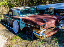 Rusty, old, junked car in the woods Stock Image
