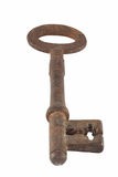 Rusty Old Key. Single old style rusty key, close up and isolated royalty free stock photos