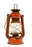 Rusty Old Lantern. A rusty old red lantern on a white background Stock Photo