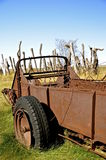 Rusty old manure spreader Stock Photo
