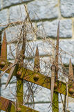 Rusty old metal fence. Royalty Free Stock Photography