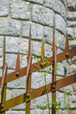 Rusty old metal fence. Royalty Free Stock Images