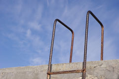 Rusty old metal ladder. In the sky Royalty Free Stock Images