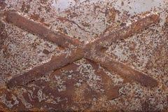 Rusty Old-Metallwerkzeugkasten Stockfoto