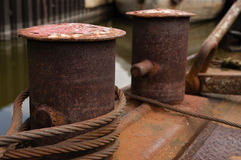 Rusty old mooring point on river cargo boat Stock Photography