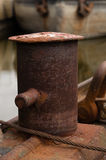 Rusty old mooring point on river cargo boat Stock Image