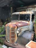 Rusty Old Pick Up Ute 1950& x27;s. Rusty old Pickup Ute in shed 1950& x27;s Farm Style Stock Photography