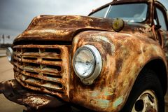 Rusty old pickup truck / Vintage rusty car stock photo