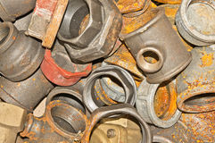 Rusty old pipe fittings Stock Photo