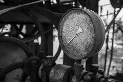 Rusty old pressure gauge. Royalty Free Stock Images