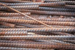 Rusty old rebar steel used in construction. Stock Photo