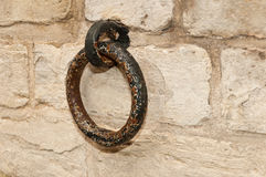 Rusty old ring at a brickwork wall. In the Dutch city of Bergen op Zoom Royalty Free Stock Photo