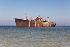 Rusty old ship on the sea Royalty Free Stock Images