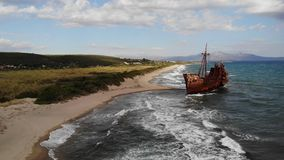 Rusty old ship wreckage epic. Aerial shot stock video