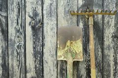 Rusty old shovel and rake royalty free stock photography