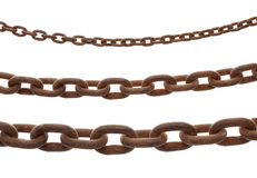 Rusty old steel chain in any different size. On white background Stock Image