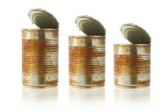 Rusty old tin cans Stock Image