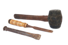 Rusty Old Tools. On White background Royalty Free Stock Image