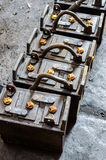 Rusty old train battery. Royalty Free Stock Photo