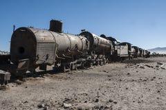 Rusty old trains at the Train Cemetery Cementerio de Trenes in Uyuni desert, Bolivia stock image