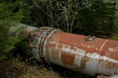Rusty old turbine pipes Stock Photography