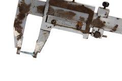 Rusty old vernier calipers Stock Photo