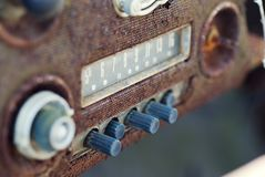 Rusty Old Vintage AM Car Radio with push buttons Stock Images