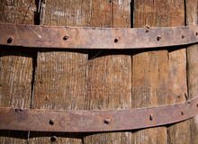 Rusty old wooden barrel. A close up of a texture of an old, rusty wooden barrel Royalty Free Stock Photo