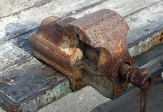 Rusty and old work bench Vice Stock Photo