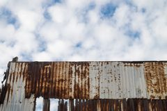 Rusty old zinc wall texture background. Stock Images