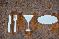 Rusty Oxidated Restaurant Sign. Classic Vintage Old Rusty Oxidated Restaurant Sign With Fork and Knife Stock Photography