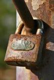 Rusty Padlock 2. A rusty paddlock on a gate Stock Photo