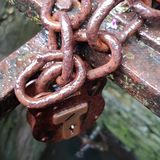 Rusty padlock. Rusty chain and padlock Stock Images