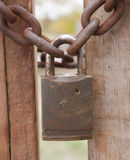 Rusty padlock and chain Royalty Free Stock Photos