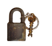 Rusty padlock - isolated Royalty Free Stock Photo