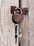 Rusty padlock with keys. Royalty Free Stock Photo