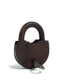 Rusty padlock over white Stock Photography