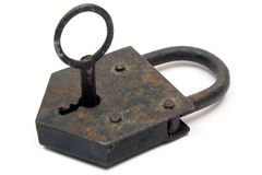 Rusty Padlock w/ Key Royalty Free Stock Photo