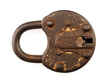 Rusty padlock on a white background. Stock Image