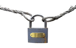 Rusty padlock on wire rope Royalty Free Stock Photography