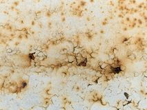 Rusty paint. Closeup of rust on a painted metal surface Royalty Free Stock Images