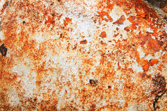 Rusty painted metal. Orange rust texture from painted ship steel plating Stock Photos