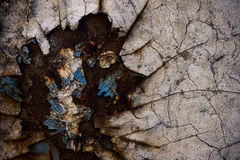Rusty painted metal surface. Close up detail of a painted metal surface which is broken up and rusty, showing parts of different colored paint Royalty Free Stock Images