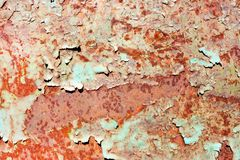 Rusty painted metal texture, old iron surface with shabby cracke royalty free stock photography