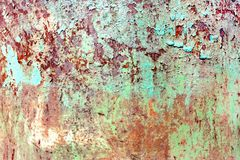 Rusty painted metal texture, old iron surface with shabby cracked paint and scratches, abstract grunge background, textured weathe stock photography