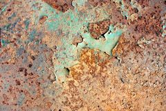 Rusty painted metal texture, old iron surface with shabby cracked paint and scratches, abstract grunge background, textured weathe stock photos