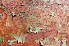 Rusty painted metal texture, old iron surface with shabby cracked paint and scratches, abstract grunge background, textured weathe royalty free stock images