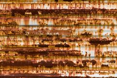Rusty Panel Texture. Horizontal rusty corrugated steel panel with rivets Royalty Free Stock Photography